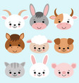 farm animals set in flat style isolated on blue vector image