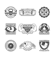 Fitness center vintage isolated label set vector image