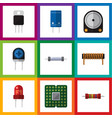 flat icon electronics set of transistor recipient vector image vector image