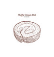 fluffy cream roll hand draw sketch vector image