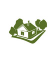 green sign of house and trees vector image