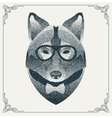 Halftone hipster wolf with black Dots vector image