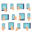hand gestures touching screen devices fingers vector image vector image