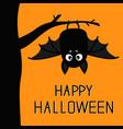 happy halloween bat hanging on tree cute cartoon vector image vector image