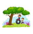 happy two boys playing tire swing under the tree vector image