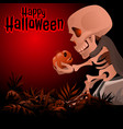 human skeleton in a grey cloak sitting on a rock vector image vector image