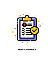 icon of medical form list with results data vector image vector image