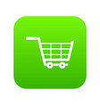 large shopping trolley icon digital green vector image vector image