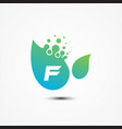 leaf design with f letter symbol design minimalist vector image vector image