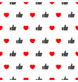 like and heart icon seamless pattern background vector image vector image