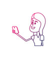 line beauty woman with hairstyle and smartphone in vector image vector image