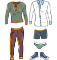 men clothes objects cartoon set vector image