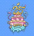 monster cake for the 25th anniversary cartoon vector image vector image