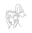 one single line drawing woman with butterfly line vector image vector image