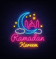 ramadan kareem neon sign ramadan kareem vector image vector image
