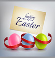 realistic colourful easter eggs with a red ribbon vector image vector image