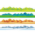 seamless mountains and fields in four seasons set vector image