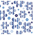 seamless pattern with flowers in blue colors vector image vector image