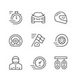 set line icons of racing vector image vector image