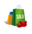 set of paper shopping bags with word sale vector image vector image