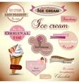 set vintage ice cream shop badges and labels vector image