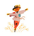 smiling straw scarecrow dressed in old clothes and vector image vector image
