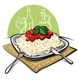 spaghetti with tomato sauce vector image vector image