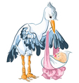 stork with newborn baisolated on white vector image vector image