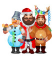 three men in funny carnival christmas costumes vector image vector image