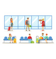 travelling people in airport set passengers vector image vector image