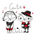 Two Cute fashion owls vector image