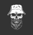 vintage skull wearing panama hat vector image vector image