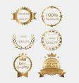 badge golden gold medal seal quality label vector image
