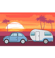 retro car with camper trailer - summer vacation vector image
