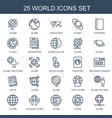 25 world icons vector image vector image