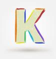 Alphabet letter K Watercolor paint design element vector image vector image