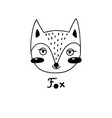 avatar cute face fox portrait vector image