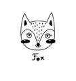 avatar cute face fox portrait vector image vector image