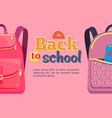 back to school poster with backpacks for children vector image vector image