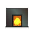 black rectangular fireplace color template vector image
