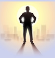 black silhouette of man standing in bright vector image vector image