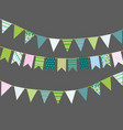 bunting flags with patterns vector image