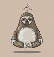 cartoon sloth meditates cartoon in vector image