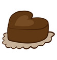 chocolate heart cake on white background vector image vector image