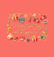 christmas lettering and colorful symbols vector image vector image