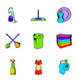 cleanup icons set cartoon style vector image vector image