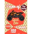 Color vintage quad bike poster vector image