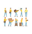 couriers in uniform delivering packages and vector image vector image