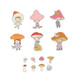 cute cartoon gnomes mushrooms forest elves vector image