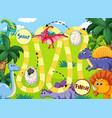 dinosaur path board game vector image vector image
